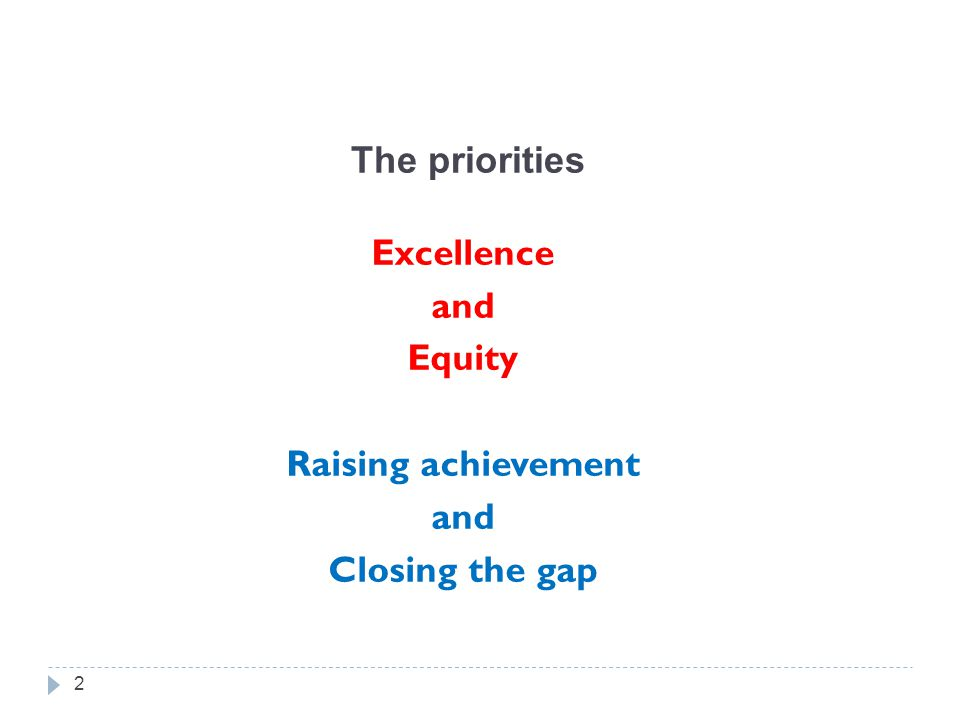 The priorities Excellence and Equity Raising achievement and Closing the gap 2