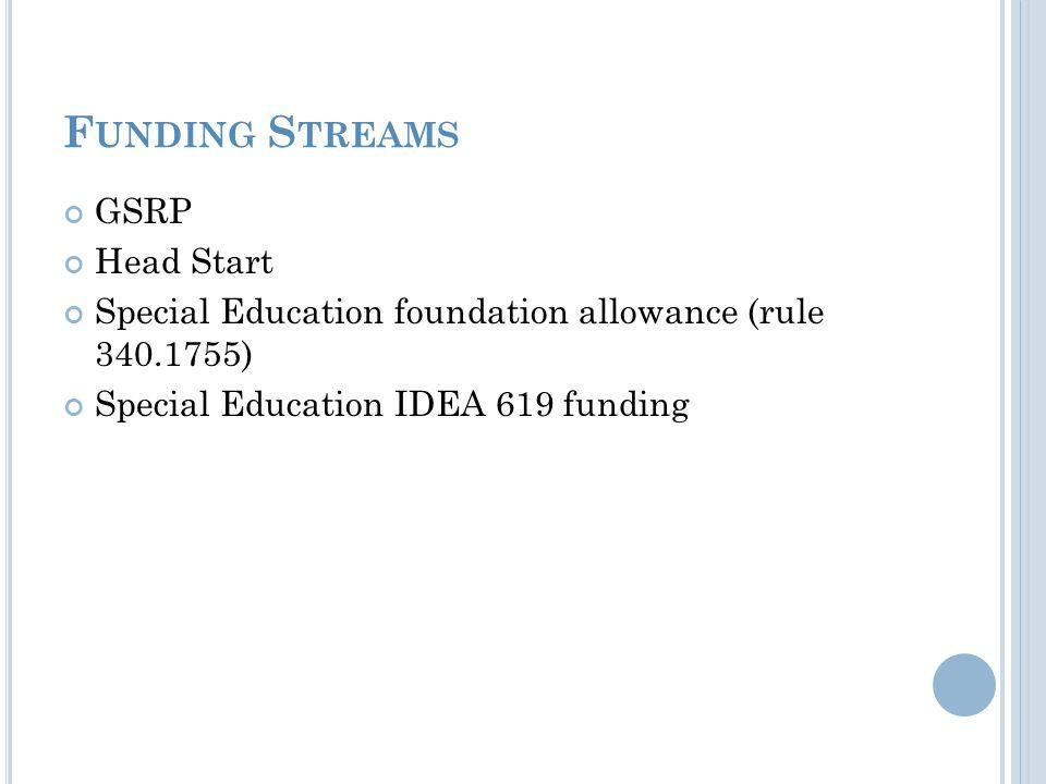 F UNDING S TREAMS GSRP Head Start Special Education foundation allowance (rule 340.1755) Special Education IDEA 619 funding