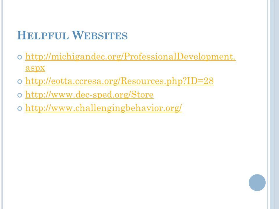 H ELPFUL W EBSITES http://michigandec.org/ProfessionalDevelopment.