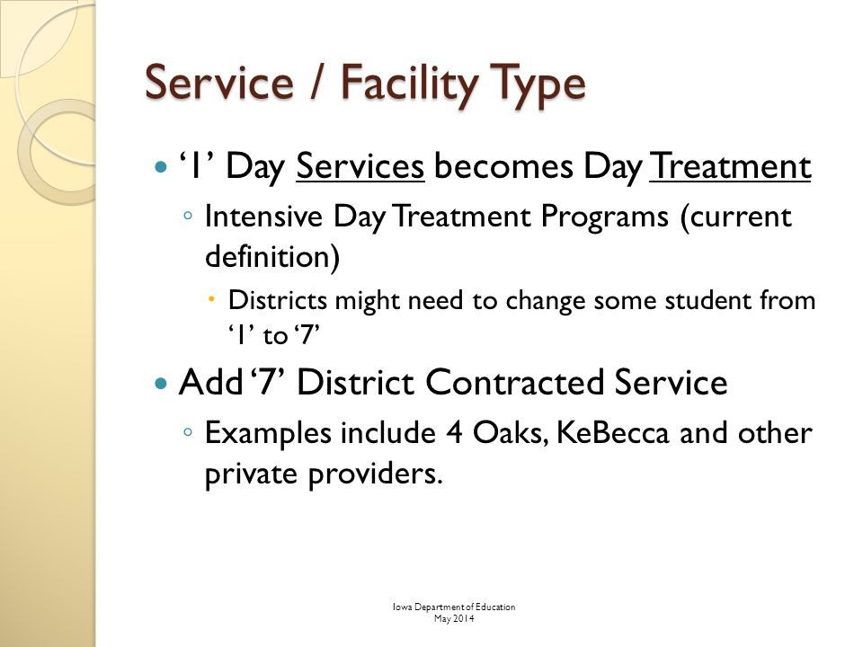 Service / Facility Type '1' Day Services becomes Day Treatment ◦ Intensive Day Treatment Programs (current definition)  Districts might need to change some student from '1' to '7' Add '7' District Contracted Service ◦ Examples include 4 Oaks, KeBecca and other private providers.