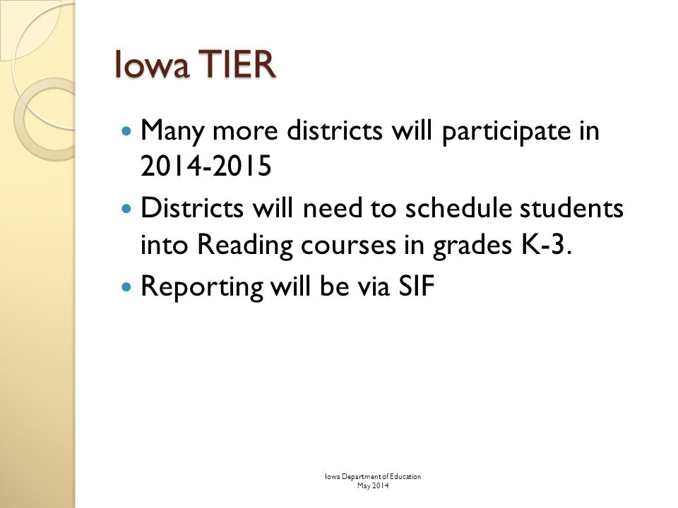 Iowa TIER Many more districts will participate in 2014-2015 Districts will need to schedule students into Reading courses in grades K-3.