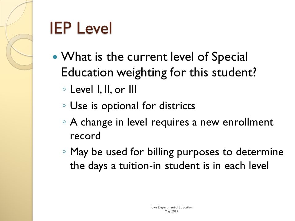 IEP Level What is the current level of Special Education weighting for this student.