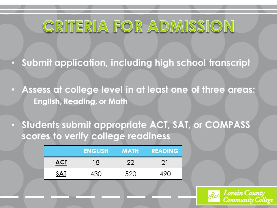 Submit application, including high school transcript Assess at college level in at least one of three areas: – English, Reading, or Math Students submit appropriate ACT, SAT, or COMPASS scores to verify college readiness ENGLISHMATHREADING ACT 182221 SAT 430520490
