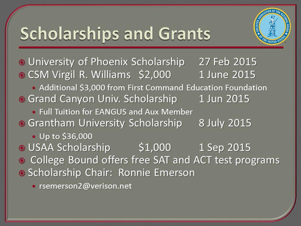  University of Phoenix Scholarship27 Feb 2015  CSM Virgil R.