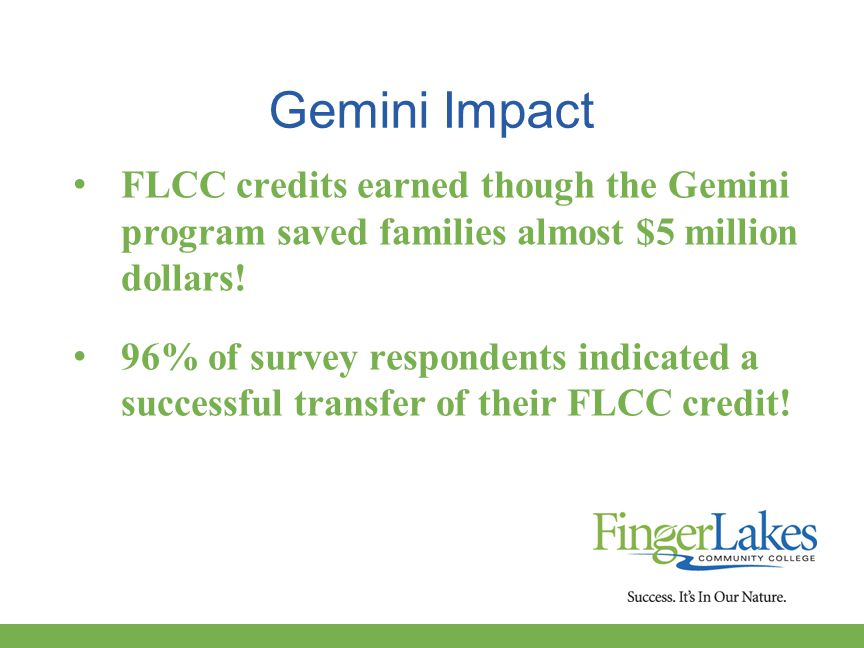 Gemini Impact FLCC credits earned though the Gemini program saved families almost $5 million dollars.