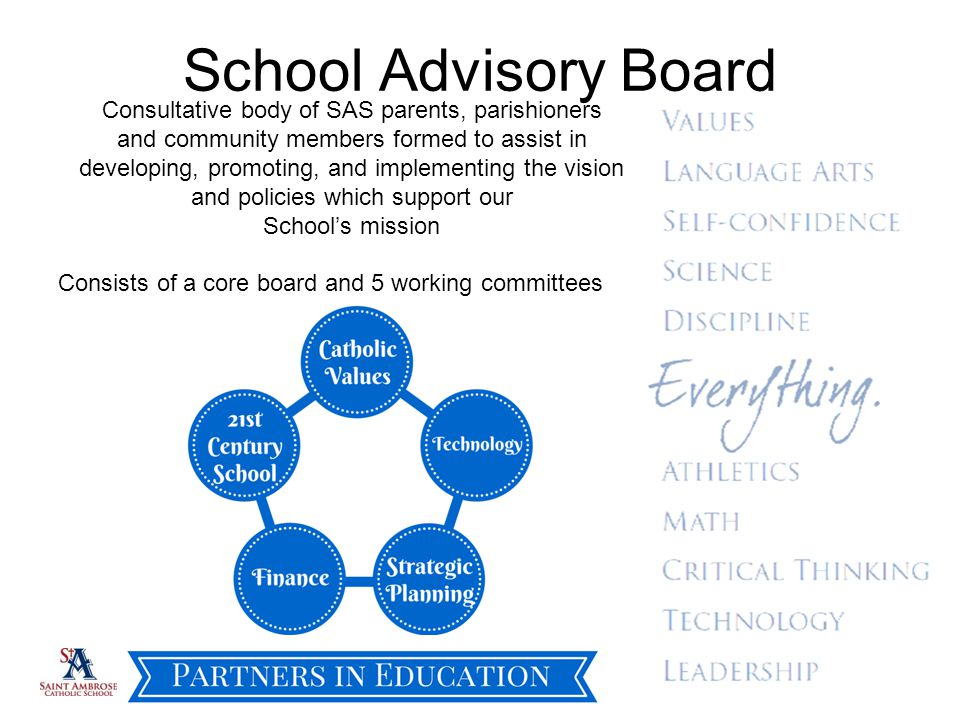 School Advisory Board Consultative body of SAS parents, parishioners and community members formed to assist in developing, promoting, and implementing