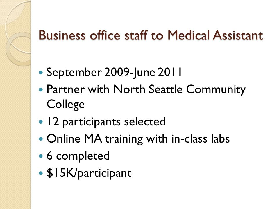Business office staff to Medical Assistant September 2009-June 2011 Partner with North Seattle Community College 12 participants selected Online MA training with in-class labs 6 completed $15K/participant