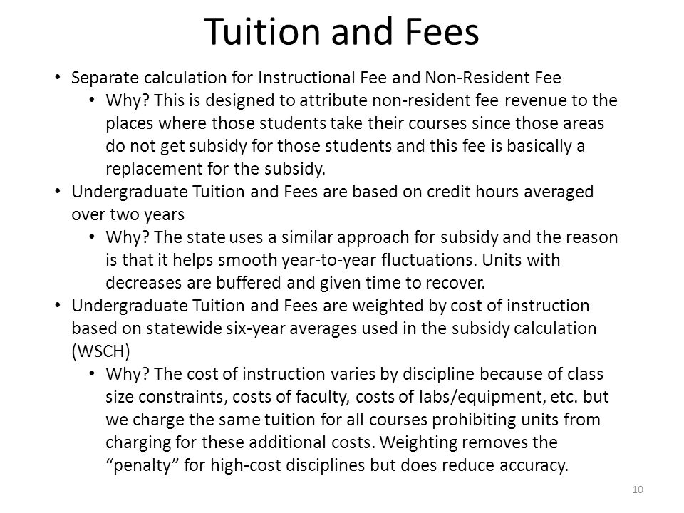Separate calculation for Instructional Fee and Non-Resident Fee Why.
