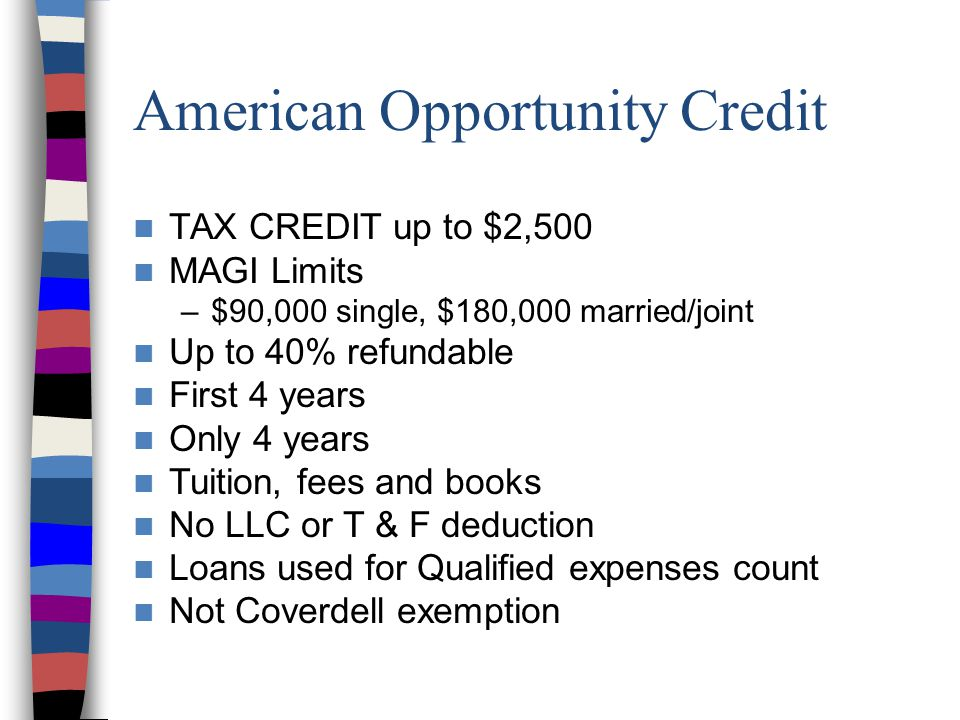 American Opportunity Credit TAX CREDIT up to $2,500 MAGI Limits –$90,000 single, $180,000 married/joint Up to 40% refundable First 4 years Only 4 years Tuition, fees and books No LLC or T & F deduction Loans used for Qualified expenses count Not Coverdell exemption