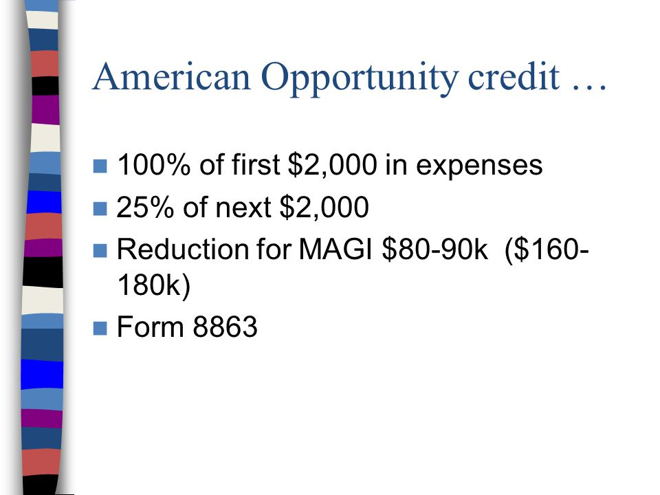 American Opportunity credit … 100% of first $2,000 in expenses 25% of next $2,000 Reduction for MAGI $80-90k ($160- 180k) Form 8863