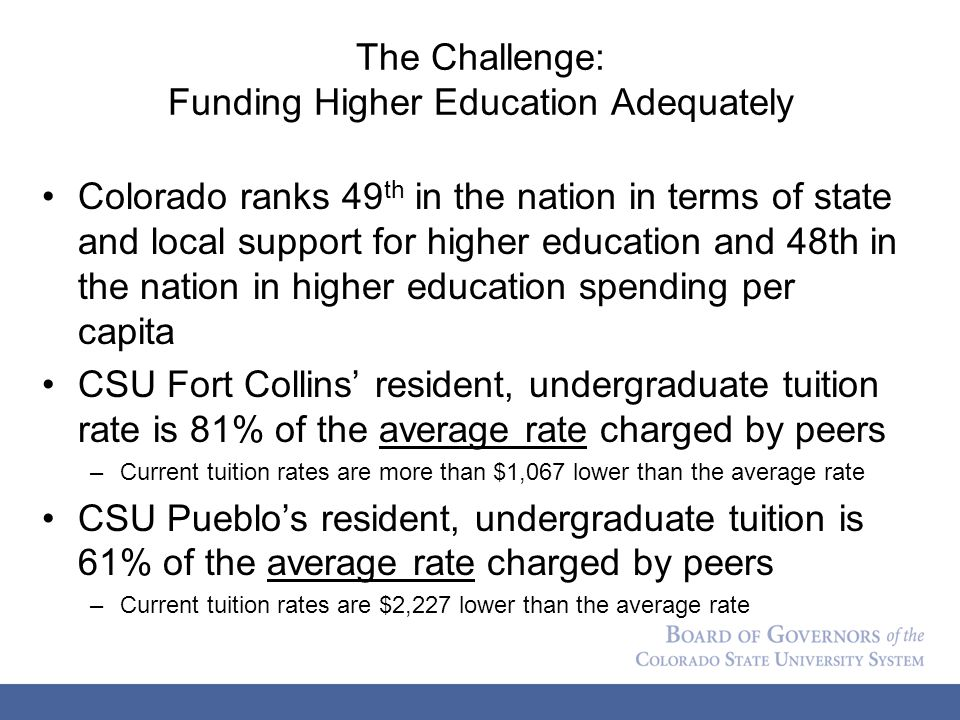The Challenge: Funding Higher Education Adequately Colorado ranks 49 th in the nation in terms of state and local support for higher education and 48th in the nation in higher education spending per capita CSU Fort Collins' resident, undergraduate tuition rate is 81% of the average rate charged by peers –Current tuition rates are more than $1,067 lower than the average rate CSU Pueblo's resident, undergraduate tuition is 61% of the average rate charged by peers –Current tuition rates are $2,227 lower than the average rate