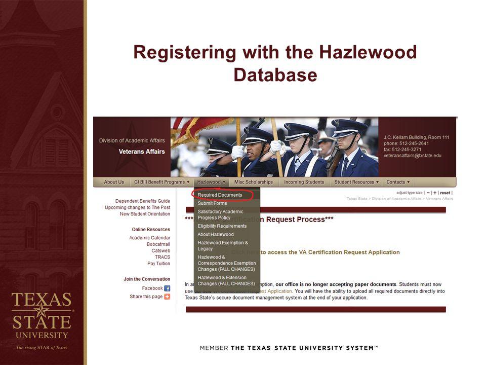Registering with the Hazlewood Database