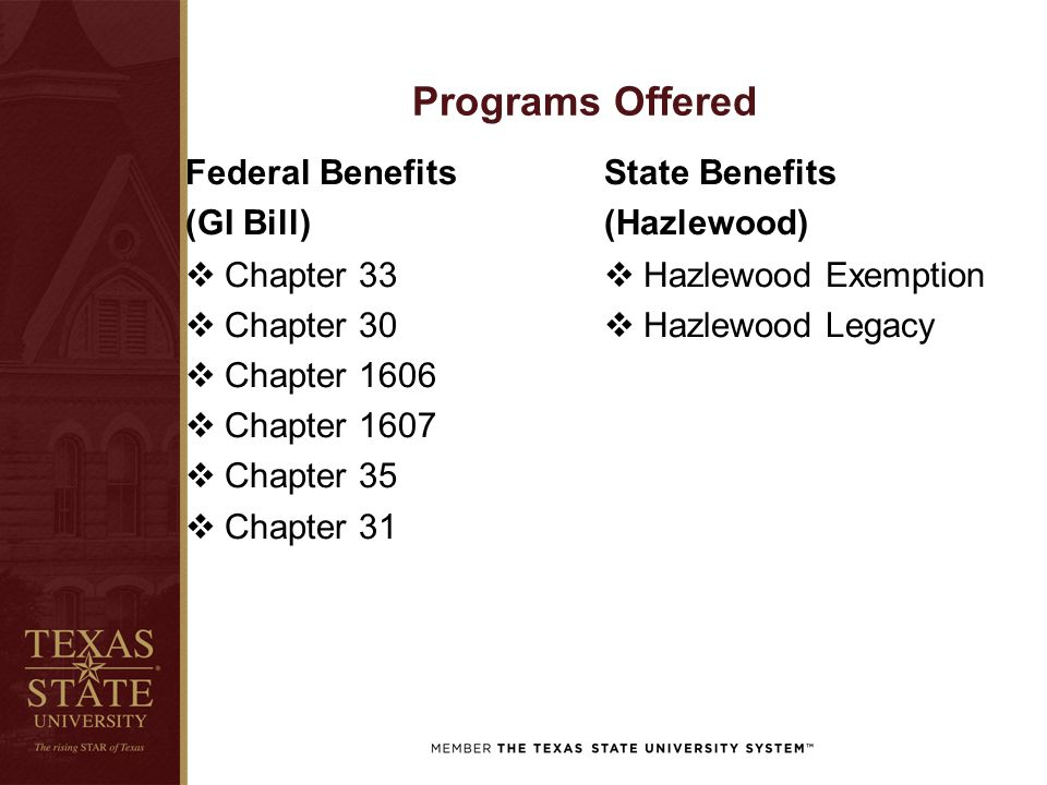Programs Offered Federal Benefits (GI Bill)  Chapter 33  Chapter 30  Chapter 1606  Chapter 1607  Chapter 35  Chapter 31 State Benefits (Hazlewoo