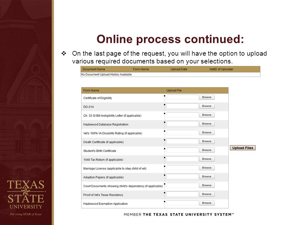 Online process continued:  On the last page of the request, you will have the option to upload various required documents based on your selections.