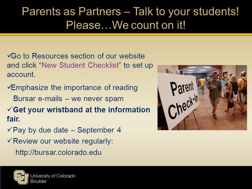 Parents as Partners – Talk to your students. Please…We count on it.