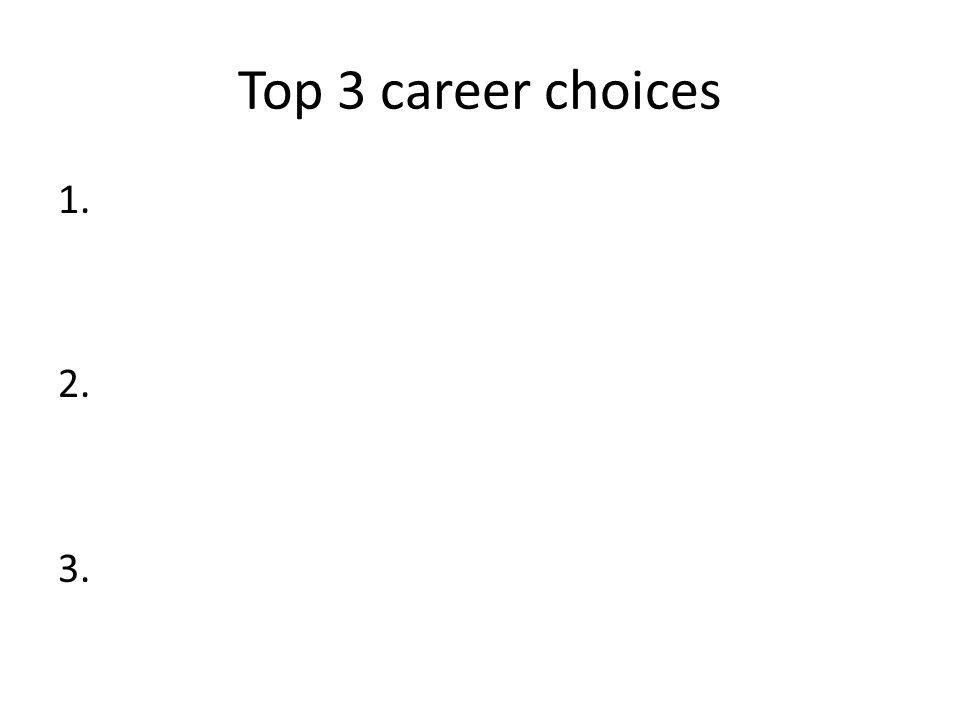 Top 3 career choices 1. 2. 3.