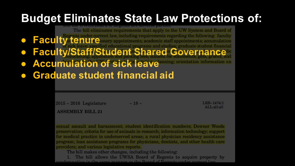 Budget Eliminates State Law Protections of: ●Faculty tenure ●Faculty/Staff/Student Shared Governance ●Accumulation of sick leave ●Graduate student financial aid