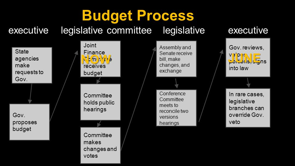 Budget Process executive legislative committee legislative executive State agencies make requests to Gov.