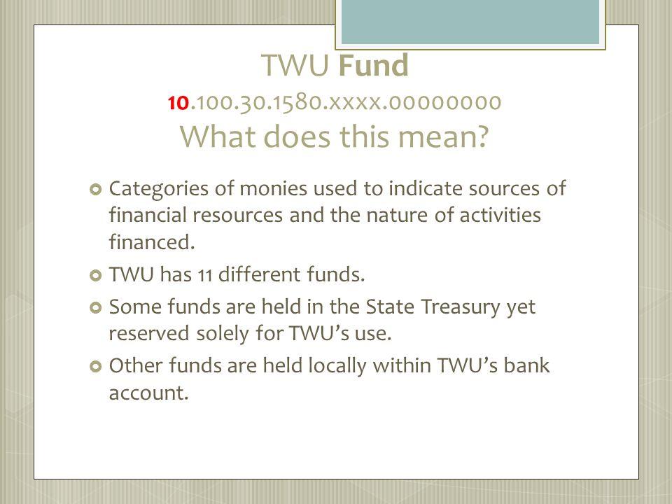 TWU Fund 10.100.30.1580.xxxx.00000000 What does this mean.