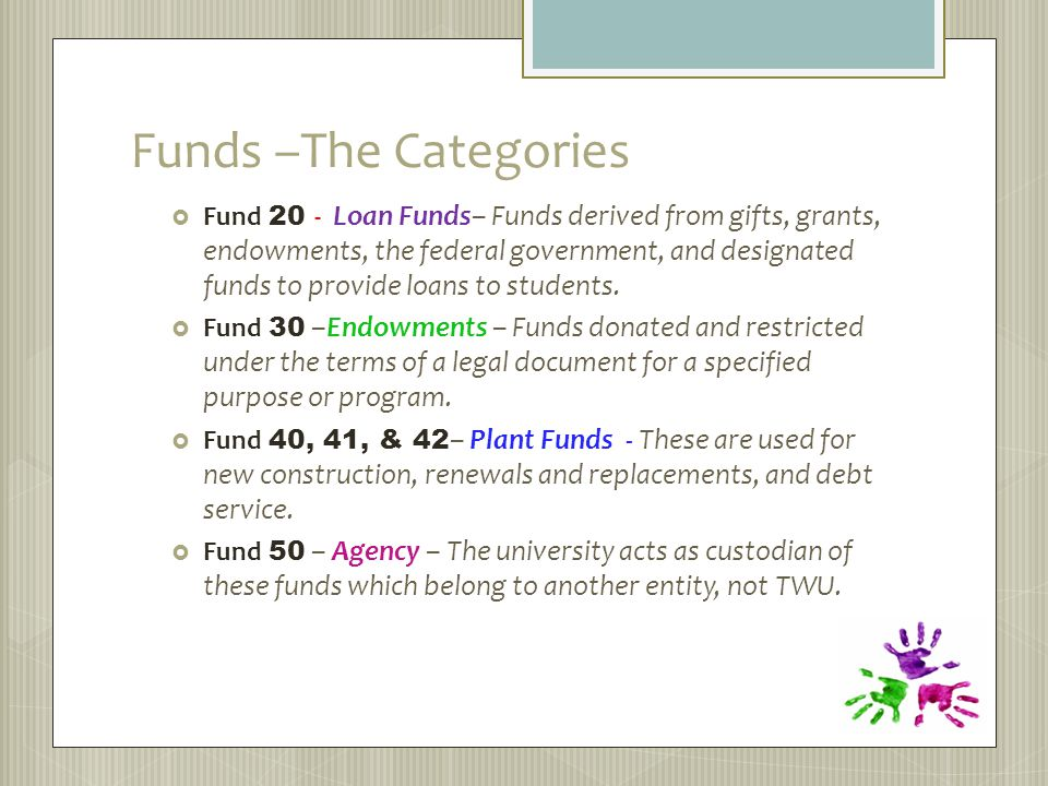 Funds –The Categories  Fund 20 - Loan Funds– Funds derived from gifts, grants, endowments, the federal government, and designated funds to provide loans to students.
