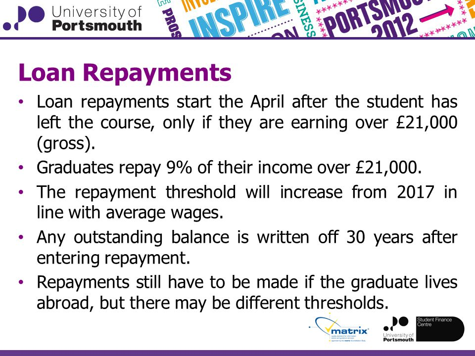 Loan Repayments Loan repayments start the April after the student has left the course, only if they are earning over £21,000 (gross).
