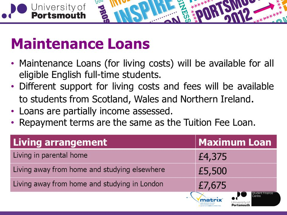Maintenance Loans Maintenance Loans (for living costs) will be available for all eligible English full-time students.
