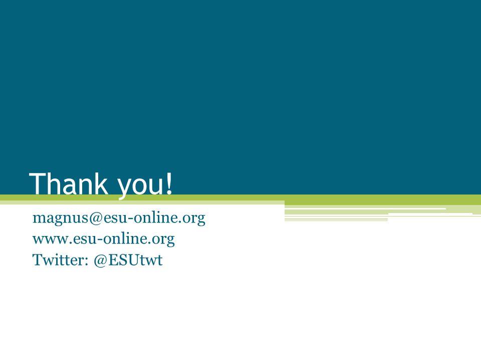 Thank you! magnus@esu-online.org www.esu-online.org Twitter: @ESUtwt