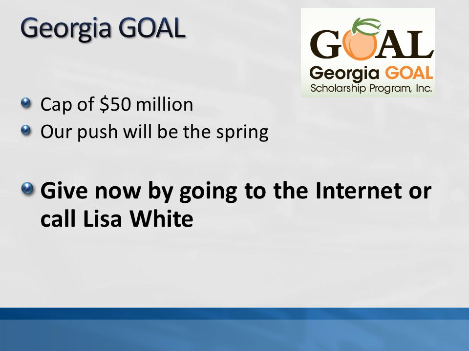 Cap of $50 million Our push will be the spring Give now by going to the Internet or call Lisa White