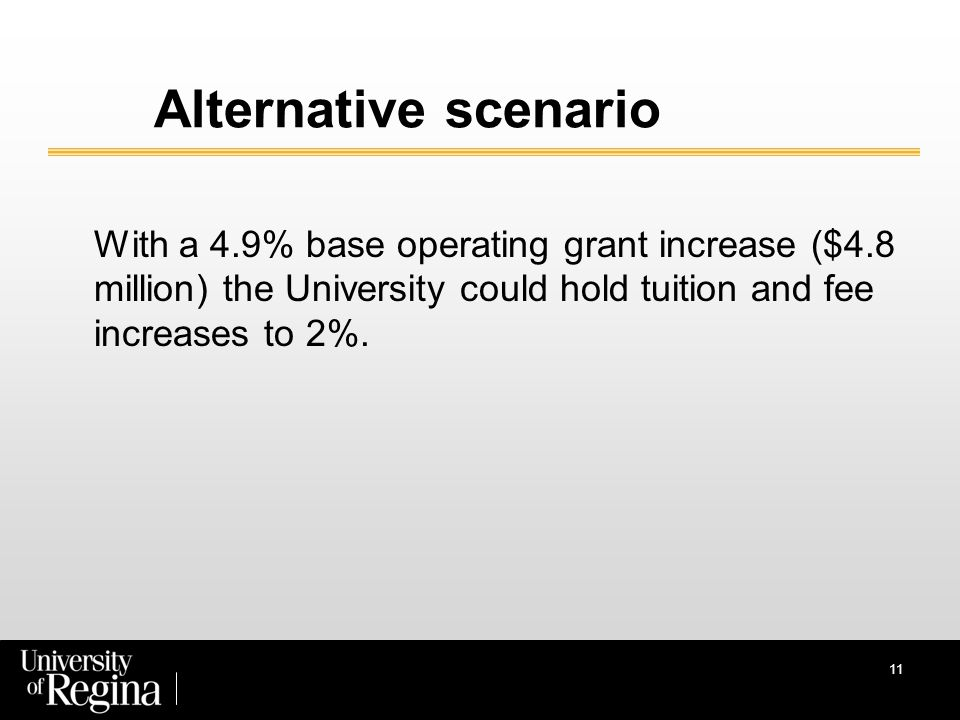 Alternative scenario With a 4.9% base operating grant increase ($4.8 million) the University could hold tuition and fee increases to 2%.