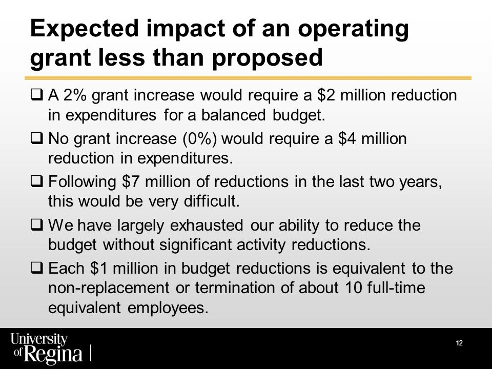 12 Expected impact of an operating grant less than proposed  A 2% grant increase would require a $2 million reduction in expenditures for a balanced budget.