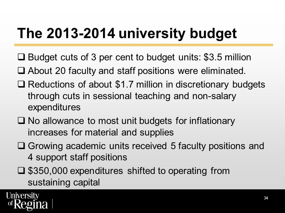 34 The 2013-2014 university budget  Budget cuts of 3 per cent to budget units: $3.5 million  About 20 faculty and staff positions were eliminated.