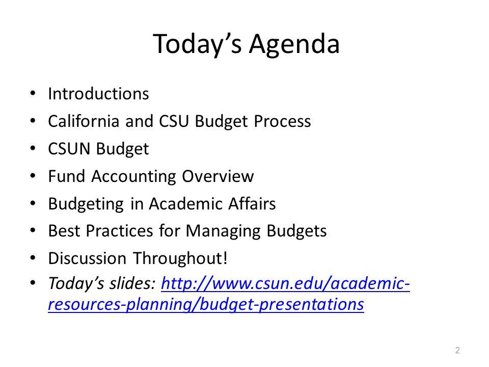 California and CSU Budget Process