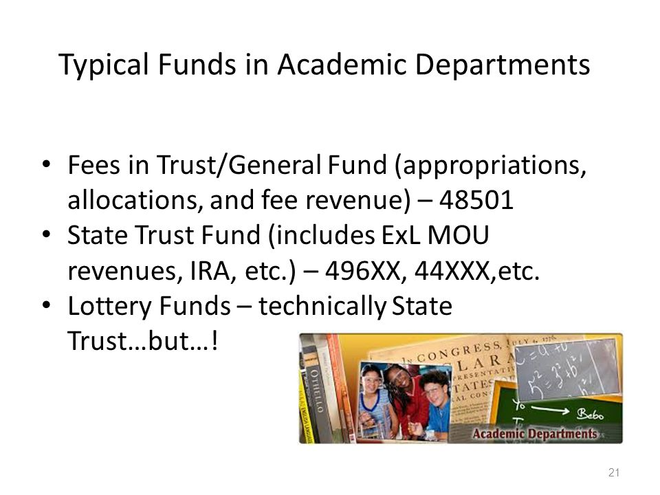 Typical Funds in Academic Departments Fees in Trust/General Fund (appropriations, allocations, and fee revenue) – 48501 State Trust Fund (includes ExL