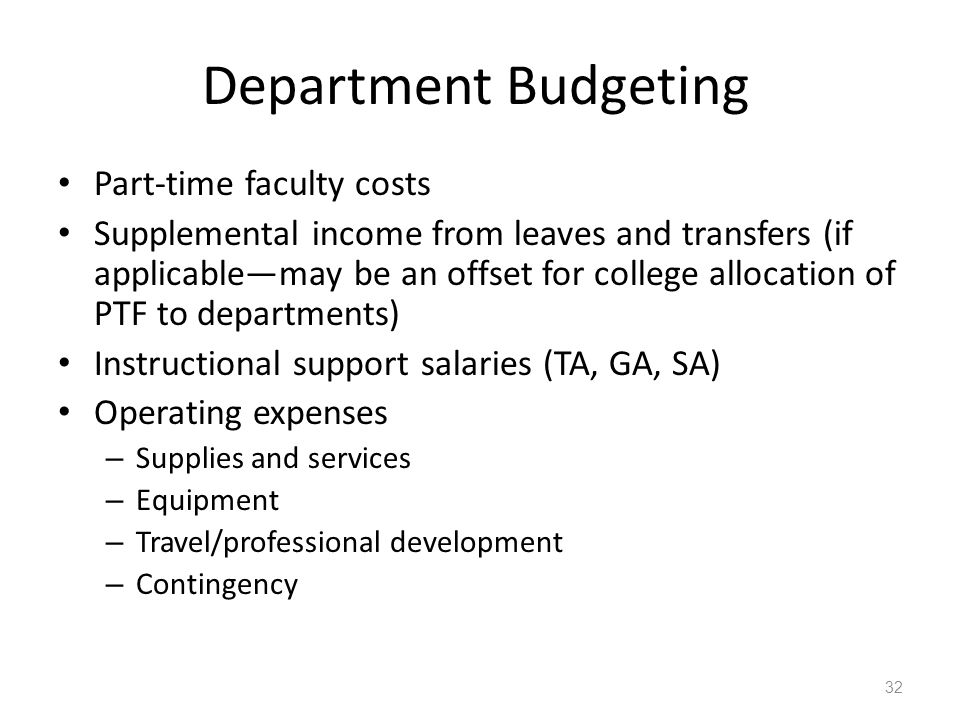 Department Budgeting Part-time faculty costs Supplemental income from leaves and transfers (if applicable—may be an offset for college allocation of P