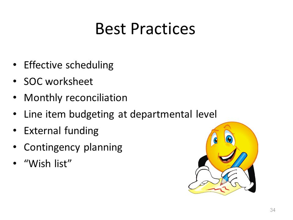 Best Practices Effective scheduling SOC worksheet Monthly reconciliation Line item budgeting at departmental level External funding Contingency planni