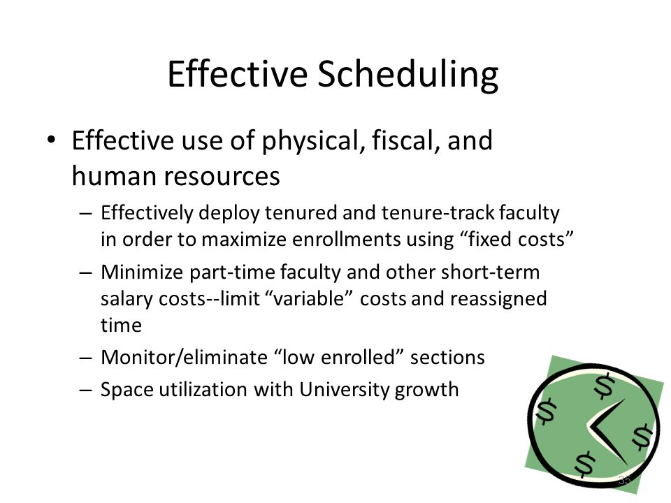 Effective Scheduling Effective use of physical, fiscal, and human resources – Effectively deploy tenured and tenure-track faculty in order to maximize