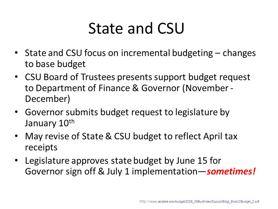 State and CSU State and CSU focus on incremental budgeting – changes to base budget CSU Board of Trustees presents support budget request to Departmen