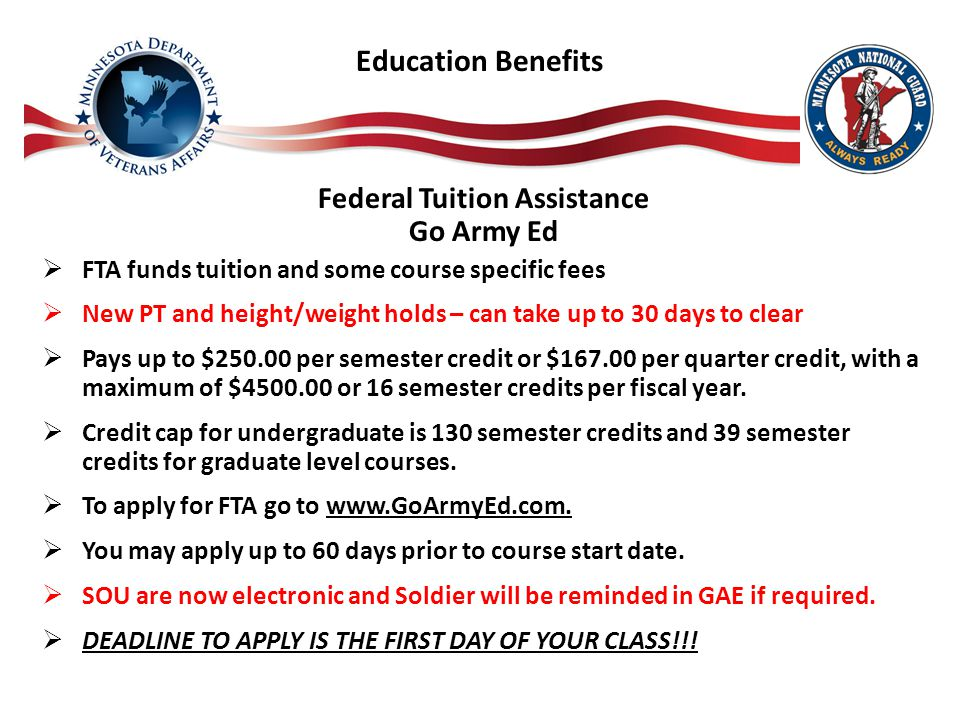 Education Benefits Federal Tuition Assistance Go Army Ed  FTA funds tuition and some course specific fees  New PT and height/weight holds – can take up to 30 days to clear  Pays up to $250.00 per semester credit or $167.00 per quarter credit, with a maximum of $4500.00 or 16 semester credits per fiscal year.