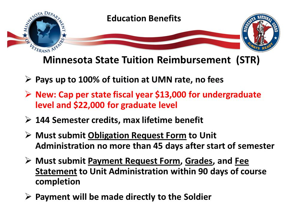 Minnesota State Tuition Reimbursement (STR)  Pays up to 100% of tuition at UMN rate, no fees  New: Cap per state fiscal year $13,000 for undergraduate level and $22,000 for graduate level  144 Semester credits, max lifetime benefit  Must submit Obligation Request Form to Unit Administration no more than 45 days after start of semester  Must submit Payment Request Form, Grades, and Fee Statement to Unit Administration within 90 days of course completion  Payment will be made directly to the Soldier Education Benefits