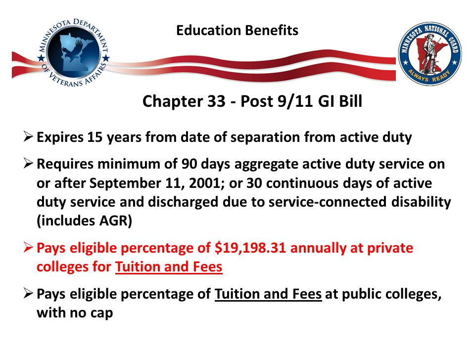 Chapter 33 - Post 9/11 GI Bill  Expires 15 years from date of separation from active duty  Requires minimum of 90 days aggregate active duty service on or after September 11, 2001; or 30 continuous days of active duty service and discharged due to service-connected disability (includes AGR)  Pays eligible percentage of $19,198.31 annually at private colleges for Tuition and Fees  Pays eligible percentage of Tuition and Fees at public colleges, with no cap Education Benefits