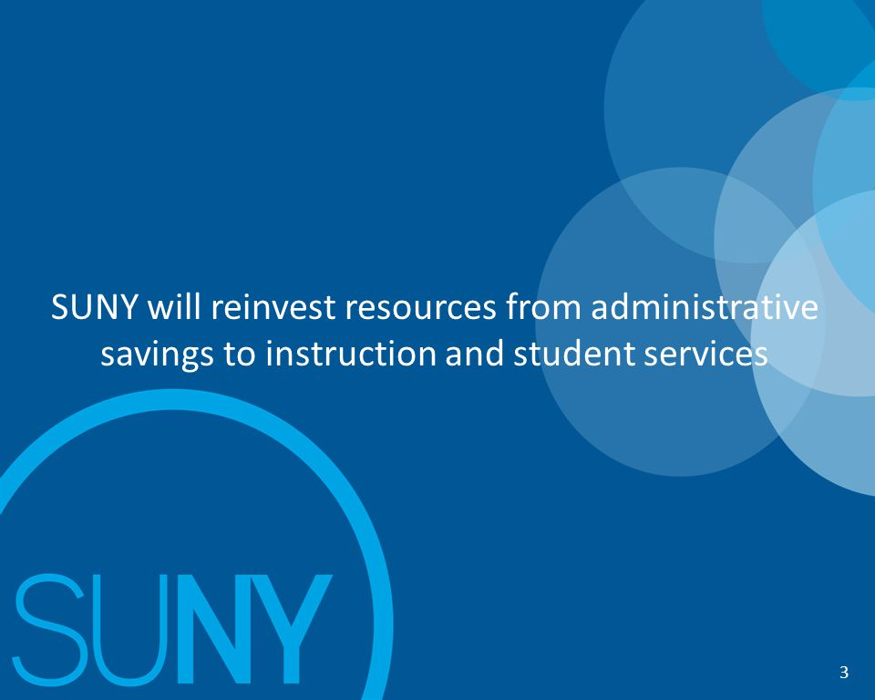 11 SUNY will reinvest resources from administrative savings to instruction and student services 3