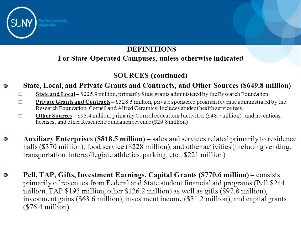 DEFINITIONS For State-Operated Campuses, unless otherwise indicated SOURCES (continued)  State, Local, and Private Grants and Contracts, and Other Sources ($649.8 million)  State and Local – $225.9 million, primarily State grants administered by the Research Foundation  Private Grants and Contracts – $328.5 million, private sponsored program revenue administrated by the Research Foundation, Cornell and Alfred Ceramics.
