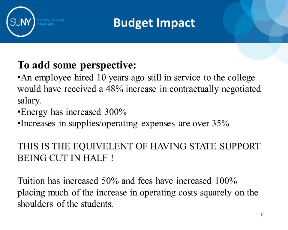 6 6 Budget Impact To add some perspective: An employee hired 10 years ago still in service to the college would have received a 48% increase in contractually negotiated salary.