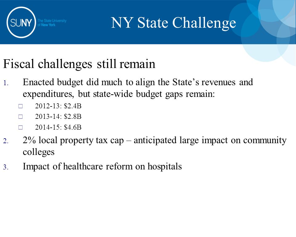 Fiscal challenges still remain 1. Enacted budget did much to align the State's revenues and expenditures, but state-wide budget gaps remain:  2012-13