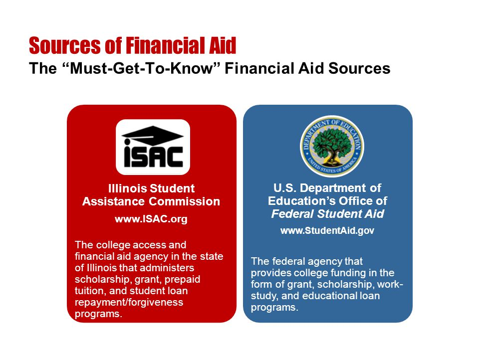 "Sources of Financial Aid The ""Must-Get-To-Know"" Financial Aid Sources Illinois Student Assistance Commission www.ISAC.org The college access and finan"