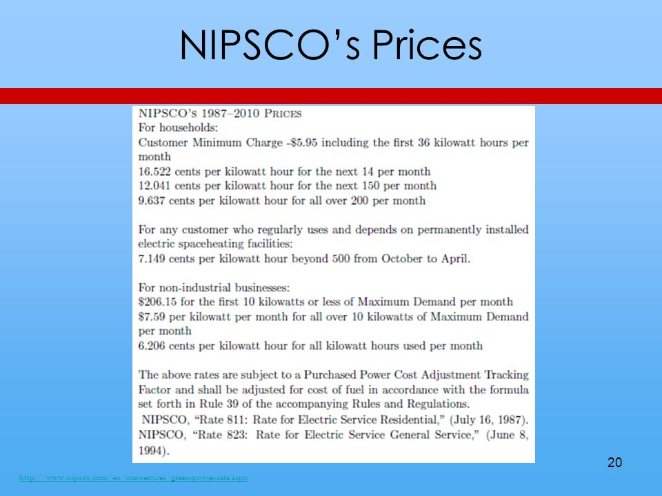 NIPSCO's Prices http://www.nipsco.com/en/our-services/green-power-rate.aspx 20