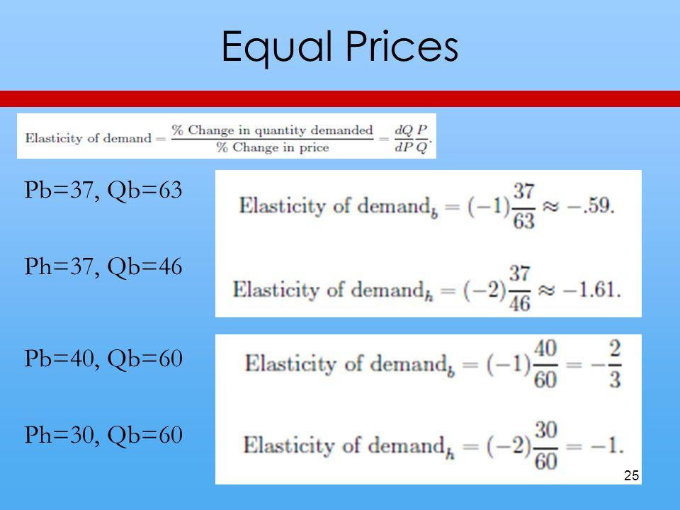 Equal Prices Pb=37, Qb=63 Ph=37, Qb=46 Pb=40, Qb=60 Ph=30, Qb=60 25