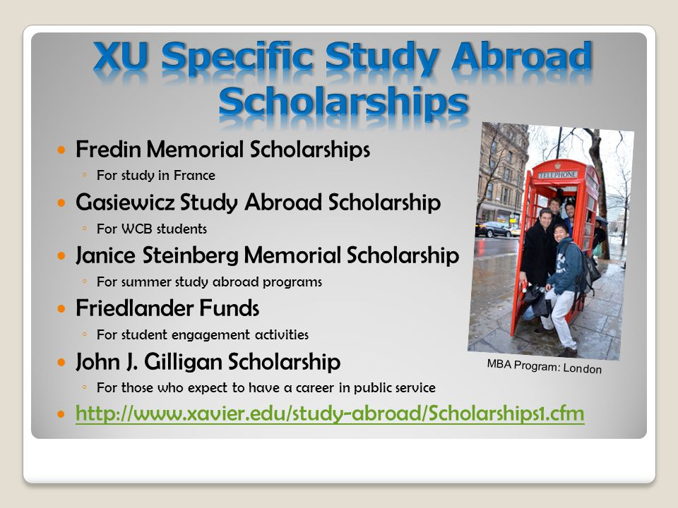 Fredin Memorial Scholarships ◦ For study in France Gasiewicz Study Abroad Scholarship ◦ For WCB students Janice Steinberg Memorial Scholarship ◦ For summer study abroad programs Friedlander Funds ◦ For student engagement activities John J.