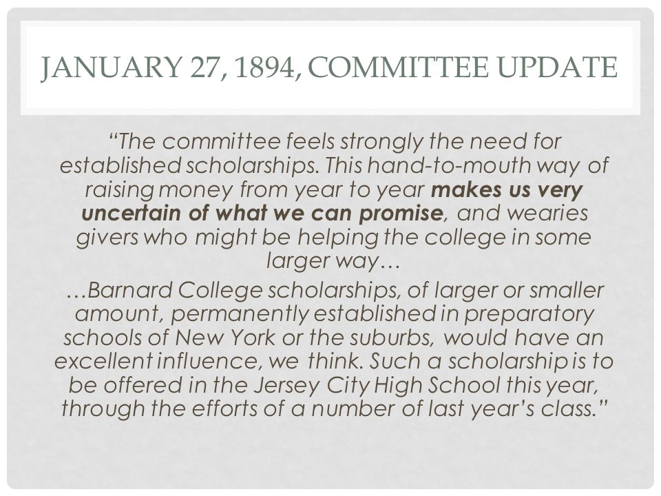 1894-1895 SCHOLARSHIP REPORT* The number of students requiring aid has averaged out to around five or six.