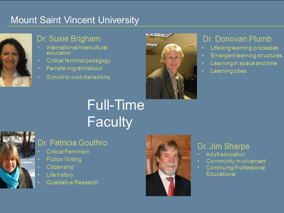 Mount Saint Vincent University Full-Time Faculty Dr.